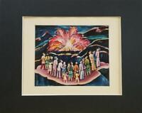 "Amanda de Leon ""The Volcano"" Matted Color Offset Lithograph 1955"