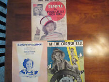 Shirley Temple Movies Sheet Music from 3 of her Movies. Very Good Condition