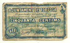 GUERRA CIVIL (NOTGELD) TORTOSA. 50 CÉNTIMOS DE 1937 (RC)
