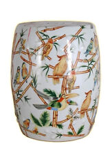 Chinese Multicolor Bird Motif Round Garden Stool 18""