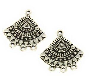 antiqued silver plated tribal boho chandelier drops findings 3 loops
