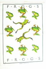 """""""Frogs"""" Australian Designed Cotton Tea Towel - White with Green Yellow Frogs"""