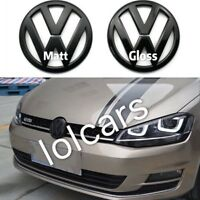 VW Golf MK7 2013 on Matt Black Front Grille & Rear Boot Badge Emblems OEM-Fit