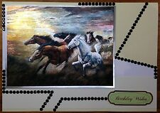 Luxury Handmade Personalised Large A4 BIRTHDAY CARD Wild Horses Galloping Free