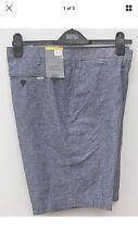 M&S Mens Gents Tailored  Fit Linen Blend Shorts Indigo Blue  Size 38 Waist