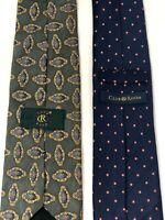 LOT OF 2 CLUB ROOM 100% Silk Men's Neck Ties - Blue Dot Tie & Green Print Tie