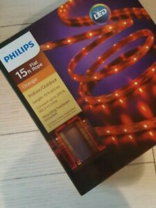 Philips 15ft LED Flat Rope Orange Indoor Outdoor Lights Connect up to 270 ft