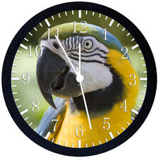 Beautiful Parrot Black Frame Wall Clock Nice For Decor or Gifts Z88