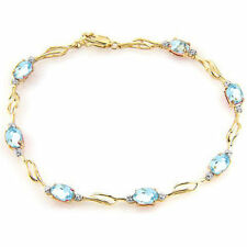 Genuine Aquamarine Gemstones & Diamonds Bracelet in 14K Yellow, White, Rose Gold