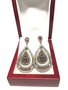 Sterling Silver Gold Gilded Chandelier Earrings; NWOT with box