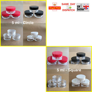 50 100 150 200 250 > CIRCLE & SQUARE 5ml SCREW TOP JAR POT CONTAINER CRAFT NAILS