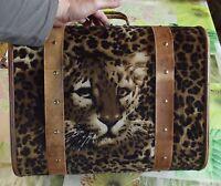Ancien coffre coffret Deco Bois Feutrine Guépard Jaguar Léopard Vintage 30 cm