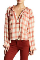 Free People Womens Honey OB754381 Top Relaxed Pink Navy Plum Size XS
