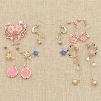 Japanese Anime Sailor Moon Earring Crystal Flower Drop Dangle Women Jewellery