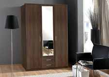 SlumberHaus German 'Berlin' 3 Door & 2 Drawers Walnut and Mirror Door Wardrobe