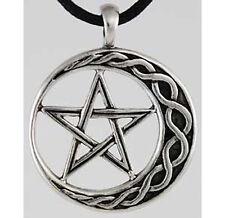 Celtic Knot Crescent Moon Pentacle Pentagram Star Pewter Amulet Necklace Pendant