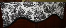 Scallop Valance Waverly Country LIfe Toile Black and Cream with Pom fringe