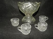ANTIQUE EAPG EARLY AMERICAN PATTERN GLASS CHILD'S  TOY  PUNCH SET 5 PIECES