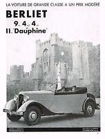 1934 BIG Original Vintage Berliet Dauphine Convertible Car Castle Photo Print Ad