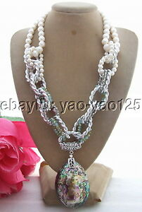 White Pearl  Abalone Shell Crystal Necklace  Abalone Shell pendant necklace