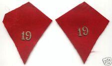 Ecussons de col de Manteau 19e Regt  Chasseurs à Cheval