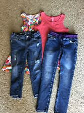Lot Of 4 Cat And Jack Girls Clothing Size 7/8 Jeans Dress Tank Top
