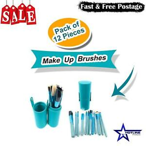 12Pc's Make Up Brushes Cosmetic Face Powder Blusher Foundation Contour Set, Blue