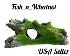 Log Cave Aquarium Decoration Moss Covered Betta Cichlid Salt/Fresh Water
