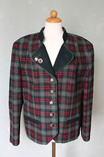 PERRY Trachtenjacke Janker Jacke grün rot kariert khaki Wolle Größe 42 XL (S14)*