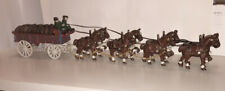 Budweiser Clydesdales Cast Iron Beer Wagon & Horse Team Vintage Anheuser Busch
