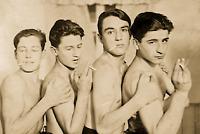 Vintage FOUR SHIRTLESS MEN Smoking 1930s Gay Interest Photo 4x6 Sepia Reprint