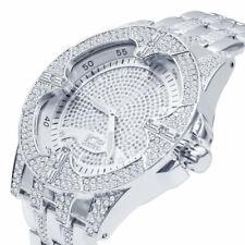 14k White Gold Tone Finish Simulated Diamonds Stainless Steel Back Analog Watch
