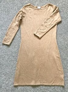 PURE COLLECTION TAUPE / BEIGE 100% CASHMERE DRESS SIZE L