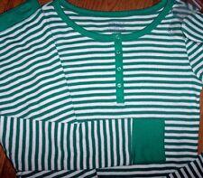NWT Jasmine & Ginger Green/White Stripe Thermal Pajamas/SLEEP MASK Set M Xmas