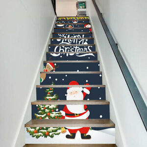 13Pcs 3D Christmas Stair Riser Decals Mural Vinyl Wall Stickers Self Adhesive