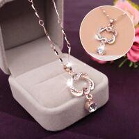 Damen Halskette Herz Anhänger Rose Gold Herzkette Heart Schmuck Coll#CSK eNwrg