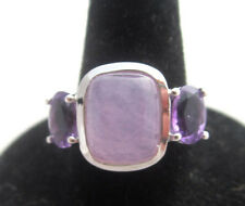 PURPLE SQUARE CHALCEDONY & AMETHYST STERLING SILVER RING Size 7 Signed HT Estate