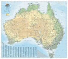 Australia HEMA 1000 X 875mm Road & Terrain Laminated Wall Map With Hang Rails