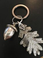 Keyring large Silver acorn with oak Leaf Pagan Wiccan handmade