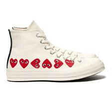 Comme des Garcons PLAY Converse High Multi Heart SZ 9 Off white red162972C