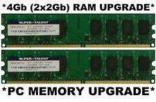 4Gb (2x 2Gb) Desktop PC RAM DDR2 Memory Module Super Talent HP/DELL/Acer/Lenovo