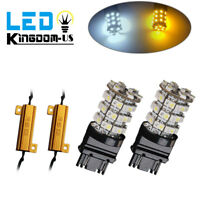 2X 3157 60SMD Dual Color Switchback White/Amber LED Turn Signal Light +Resistors