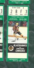 1985 11/20 ticket stub Vancouver Canucks v Chicago Blackhawks Chicago Stadium