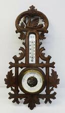 Antike Holz geschnitzte Wetterstation Barometer Thermometer Nussbaumholz  1900