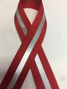 "7/8"" Red - 1/4"" 3M Silver Reflective Stripe Grosgrain Ribbon"