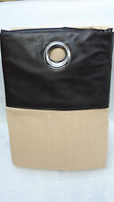"""CURTAINS IN LATTE/BEIGE/CAMEL WITH A BROWN FAUX LEATHER RING TOP 66""""X 72"""""""