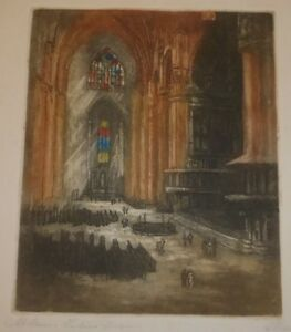 Milan Cathedral Interior Color Etching, Georges Marionez Listed French Artist