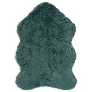 Faux Fur Sheepskin Teal Blue Rug in two sizes
