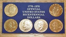1976 Bi-Centennial Eisenhower Dollar-Gold Plated-Lot of Six in Plastic Case-READ