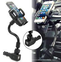 SUPPORTO PER CELLULARE DA AUTO ACCENDISIGARI 2 PORTA USB CARICABATTERIE ❤